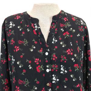 Suzy Shier Black Red Floral Bouquet Blouse XL